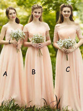 Cheap Beautiful Bridesmaid Dresses Off-the-shoulder Long Chiffon Bridesmaid Dresses JKB049