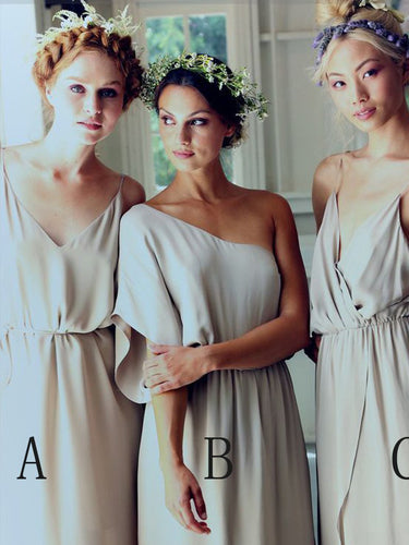 Sexy Cheap Bridesmaid Dresses Spaghetti Straps One Shoulder Long Bridesmaid Dresses JKB050
