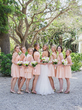 Chic Bridesmaid Dresses Pearl Pink A-line Short/Mini Chiffon Bridesmaid Dresses JKB052