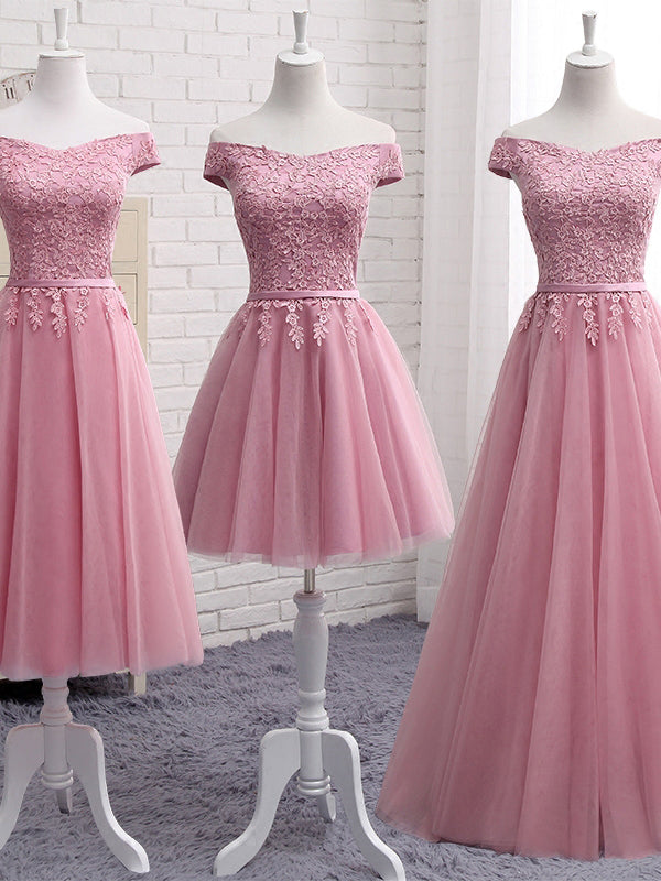 Sexy Bridesmaid Dresses Off-the-shoulder Tulle Long Bridesmaid Dresses JKB053