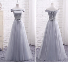 Long Bridesmaid Dresses Off-the-shoulder Appliques Tulle Bridesmaid Dresses JKB054