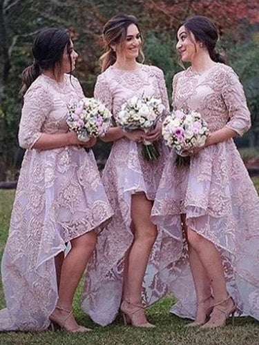 Sexy Bridesmaid Dresses Asymmetrical Organza Beautiful Long Bridesmaid Dresses JKB055