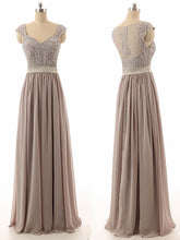 Sexy Bridesmaid Dresses A-line Straps Floor-length Chiffon Long Bridesmaid Dresses JKB056