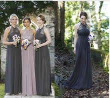 Chic Bridesmaid Dresses Chiffon Lace Halter Sexy Long Bridesmaid Dresses JKB057