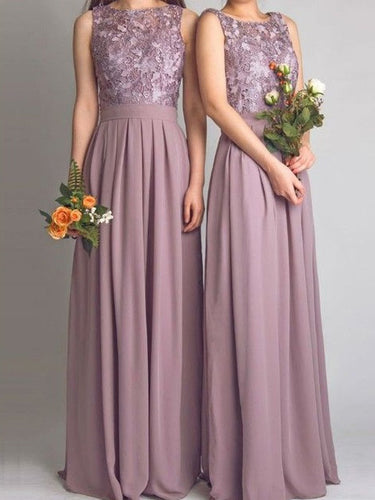 Beautiful Bridesmaid Dresses Scoop Lace Floor-length Chiffon Bridesmaid Dresses JKB059
