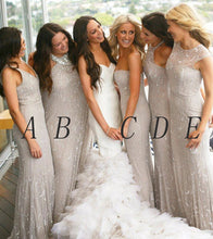 Sexy Bridesmaid Dresses V-neck Sheath/Column Tulle Long Bridesmaid Dresses JKB063
