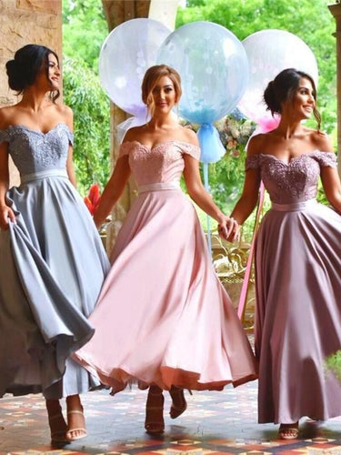 Chic Bridesmaid Dresses Off-the-shoulder Ankle-length Appliques Bridesmaid Dresses JKB064