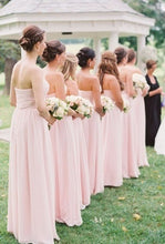 Pink Cheap Bridesmaid Dresses A Line Sweetheart Long Chiffon Bridesmaid Dresses JKB069|Annapromdress