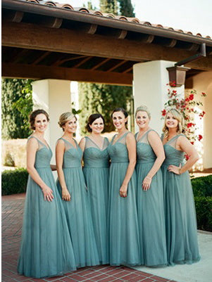 Cheap Long Bridesmaid Dresses Simple Tulle V-neck Romantic Bridesmaid Dresses JKB070|Annapromdress