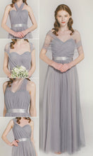 Chic Bridesmaid Dresses One for All Dress A-line Tulle Grey Bridesmaid Dresses JKB071|Annapromdress