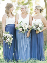 Two Piece Bridesmaid Dresses Spaghetti Straps Tulle Simple Navy Bridesmaid Dresses JKB076|Annapromdress