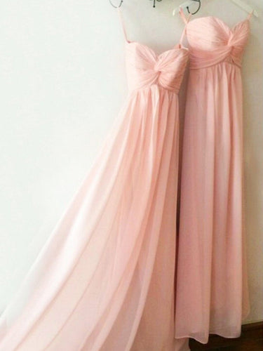 Long Bridesmaid Dresses Sweetheart A Line Floor-length Pink Bridesmaid Dresses JKB077|Annapromdress