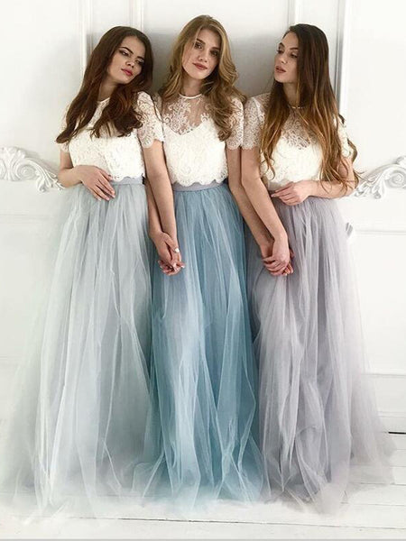 Two Piece Bridesmaid Dresses Aline Scoop Ivory Lace Boho Simple Tulle Bridesmaid Dresses JKB078|Annapromdress