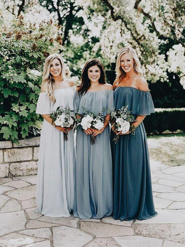 Beautiful Bridesmaid Dresses Off-the-shoulder A Line Long Chiffon Boho Bridesmaid Dresses JKB079|Annapromdress