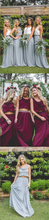 Two Piece Bridesmaid Dresses Bohemia A Line Burgundy Long Chiffon Cheap Bridesmaid Dresses JKB080|Annapromdress