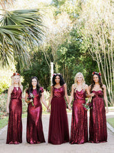 Burgundy Bridesmaid Dresses Simple Sequin Lace V-neck Open Back Bridesmaid Dresses JKB081|Annapromdress