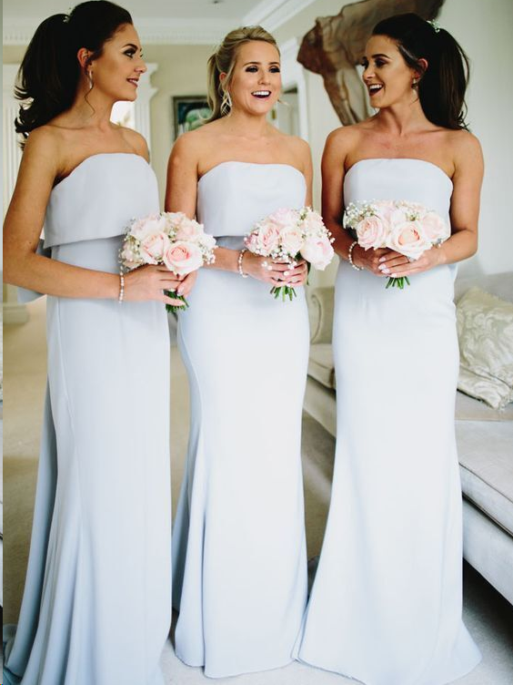 Chic Bridesmaid Dresses Column Floor-length Strapless Long Bridesmaid Dresses JKB082|Annapromdress