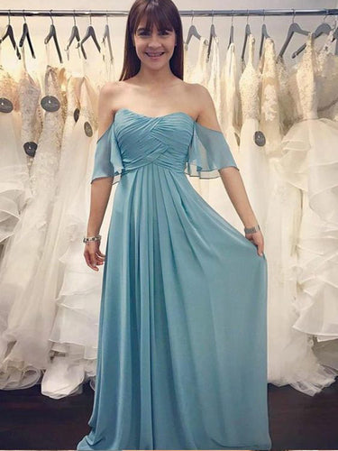 Simple Bridesmaid Dresses Half Sleeve A Line Long Chiffon Cheap Boho Bridesmaid Dresses JKB084