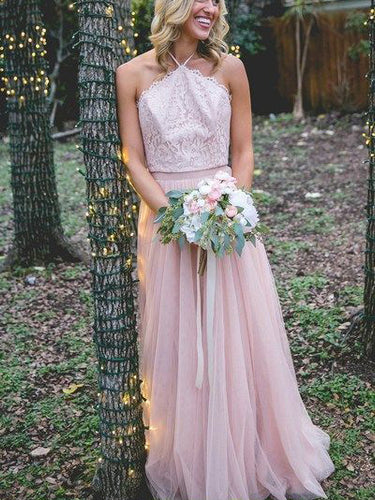 Lace Bridesmaid Dresses Bohemia A Line Blushing Pink Long Open Back Bridesmaid Dresses JKB085