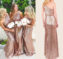 Sparkly Bridesmaid Dresses Sequins Lace One Shoulder Navy Blue Rose Gold Bridesmaid Dresses JKB086|Annapromdress