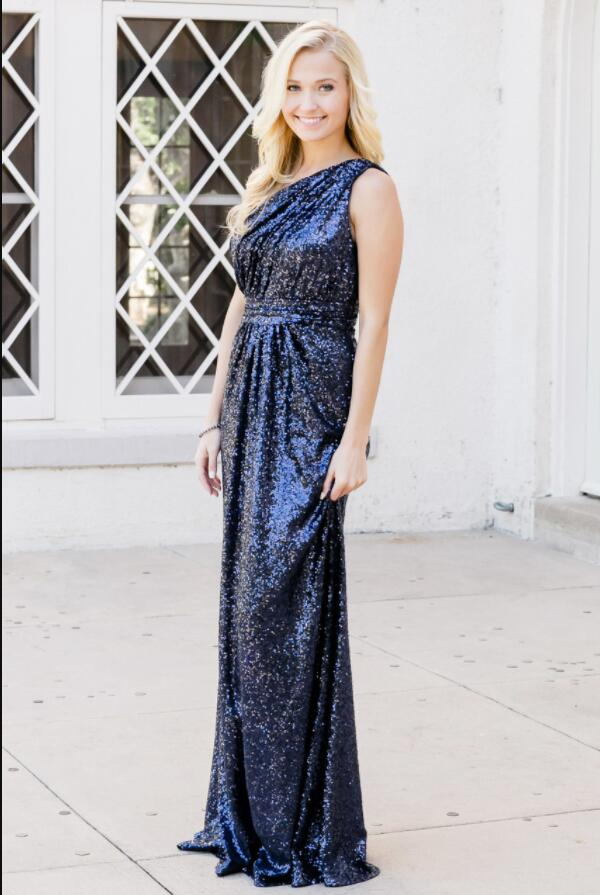 ab5b01b8582 Sparkly Bridesmaid Dresses Sequins Lace One Shoulder Navy Blue Rose Gold  Bridesmaid Dresses JKB086