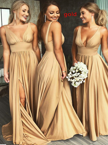 Cheap Bridesmaid Dresses with Deep Slit Aline Deep V Neck Long Gold Bridesmaid Dresses JKB087
