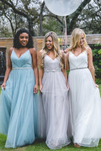 Tulle Bridesmaid Dresses with Spaghetti Straps A Line Long Open Back Cheap Bridesmaid Dresses JKB088