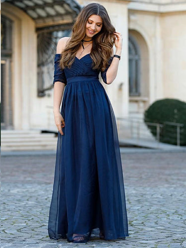 Half Sleeve Bridesmaid Dresses Off-the-shoulder Tulle Romantic Dark Navy Bridesmaid Dresses JKB089