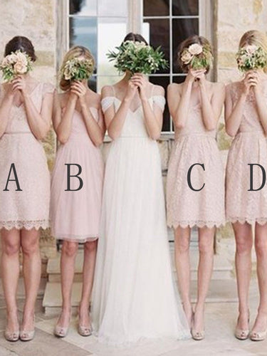 Short Bridesmaid Dresses A-line Sweetheart Vneck Blush Pink Lace Bridesmaid Dresses JKB090