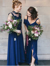 Dark Navy Bridesmaid Dresses with Straps A-line High Neck Long Simple Slit Bridesmaid Dresses JKB091