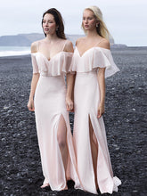 Long Bridesmaid Dresses with Spaghetti Straps A Line Floor-length Blush Pink Slit Bridesmaid Dresses JKB093