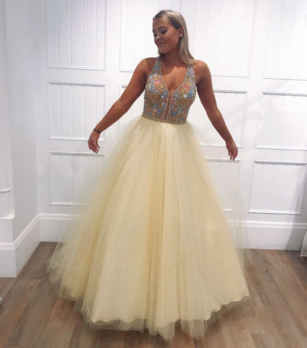 A-Line Light Yellow Tulle Beaded V-Neck Long Prom Dress,JKC1001|Annapromdress