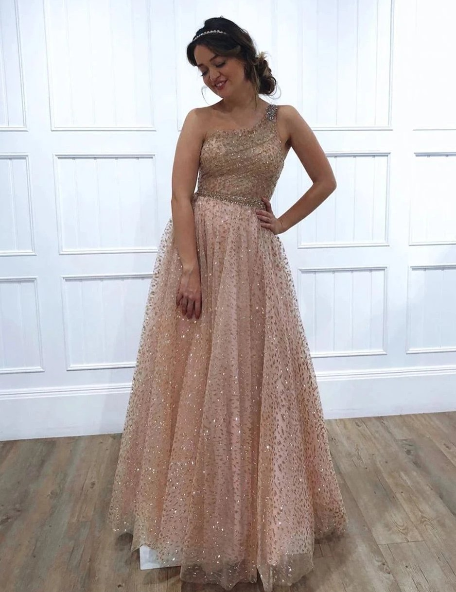 One Shoulder Sparkly Sequin Tulle A-Line Long Prom Dress,JKC1002|Annapromdress