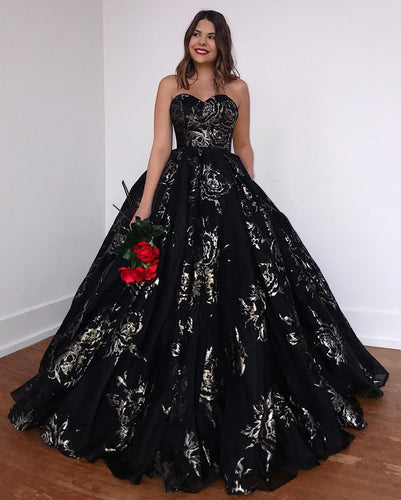 Ball Gown Sweetheart Black Lace Long Prom Dress,JKD2010