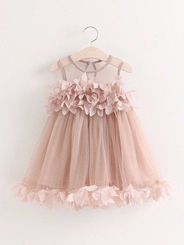 2017 Flower Girl Dresses Short Hand-Made Flower Scoop Tulle JKF001