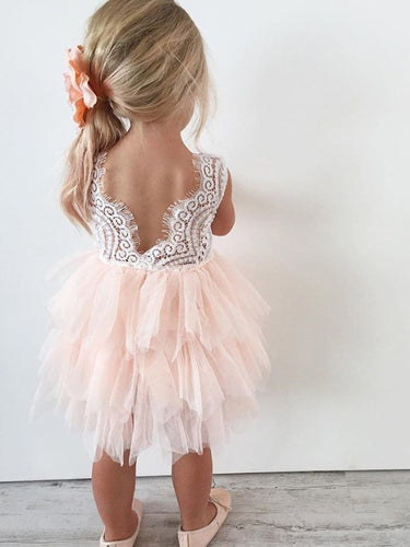 2017 Flower Girl Dresses Cheap Pink White Lace Tulle JKF005