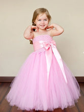 2017 Flower Girl Dresses Long Purpl Pink Bowknot Strapless Tulle JKF008