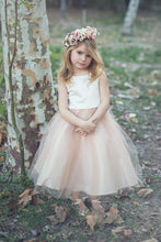 2017 Flower Girl Dresses Ivory and Champagne Bowknot Satin and Tulle JKF009