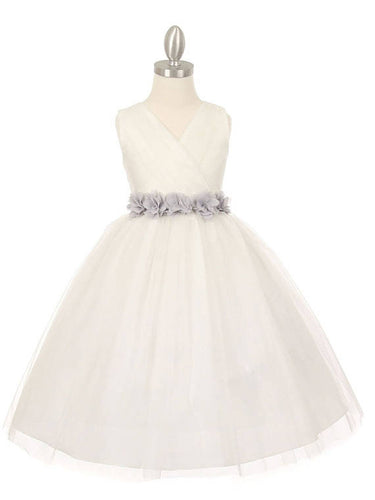 2017 Flower Girl Dresses Long V-neck Hand-Made Flower Scoop Tulle JKF010
