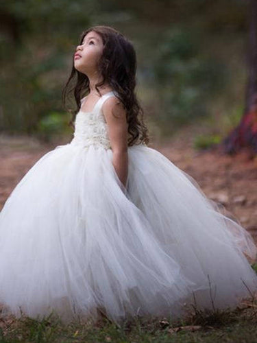 2017 Flower Girl Dresses Long Ball Gown Straps Hand-Made Flower Tulle JKF014