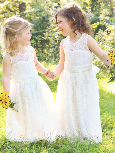 2017 Flower Girl Dresses Lace Ivory Floor-length Bowknot Tulle JKF015
