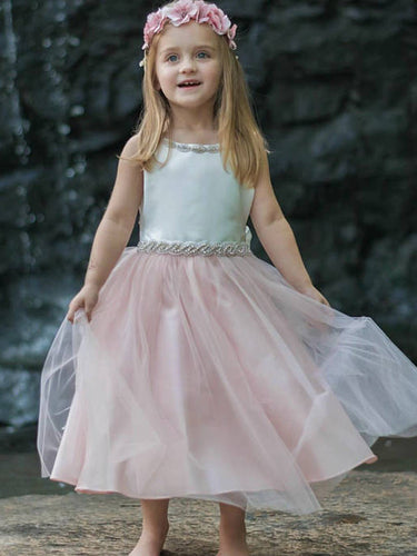2017 Flower Girl Dresses Bowknot Sashes/Ribbons Belt Satin and Tulle JKF017