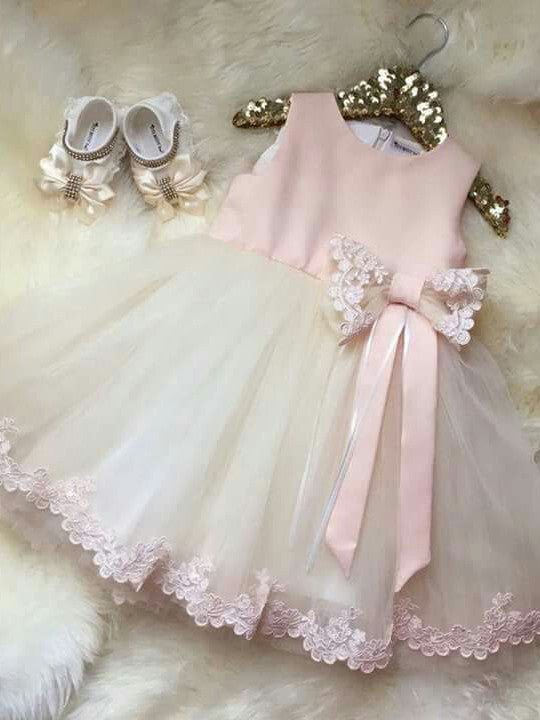 2017 Flower Girl Dresses Bowknot Long Appliques Satin and Tulle JKF019