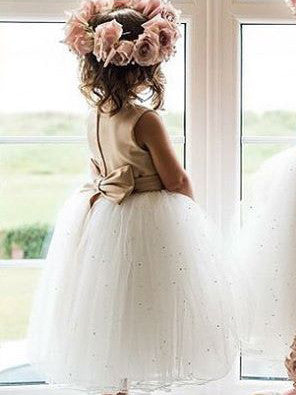 2017 Flower Girl Dresses Cute Long Tea-length Bowknot Tulle JKF020