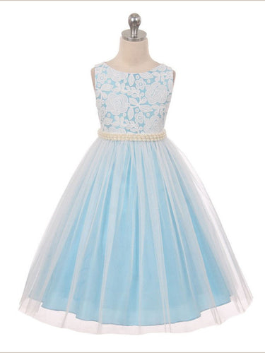 2017 Flower Girl Dresses Long White and Blue Lace Scoop Tulle JKF022