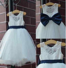 2017 Flower Girl Dresses Princess Lovely White Lace Tulle JKF025