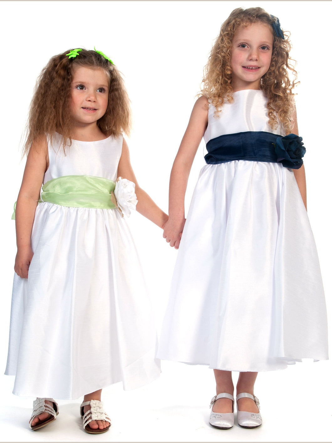 2017 Flower Girl Dresses Long White Bowknot Flower Taffeta JKF028