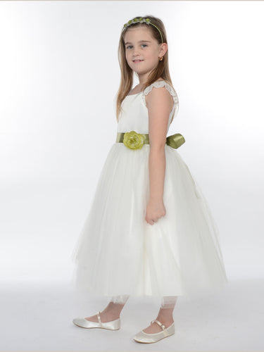 2017 Flower Girl Dresses Hand-Made Flower Satin and Tulle JKF029