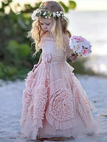 2017 Flower Girl Dresses Lovely Long Hand-Made Flower Chiffon JKF033