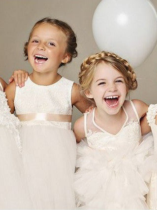 2017 Flower Girl Dresses Sashes/Ribbons Belt Lace Tulle JKF037